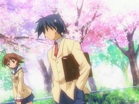 Nagisa and Tomoya walking home from school
