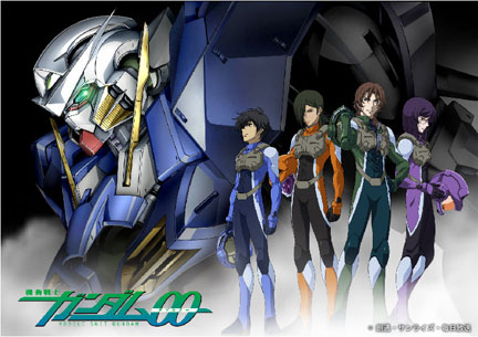 Gundam 00 with the Gundam Meisters