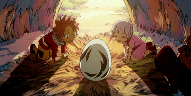 Lisanna and Natsu watching over an unhatched Happy