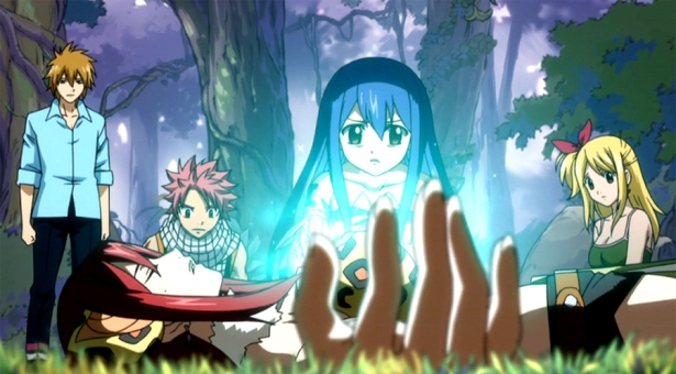 Wendy using her voodoo on Erza