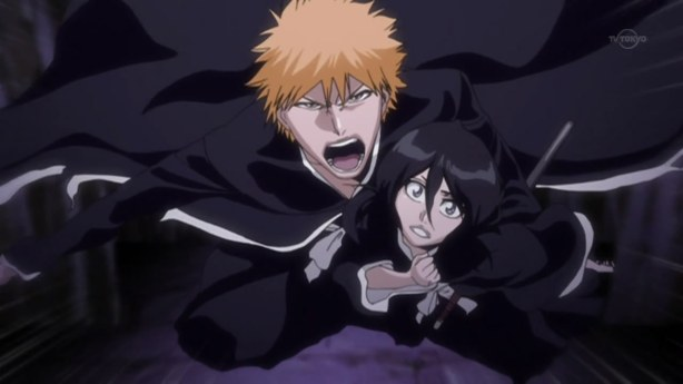 Ichigo and Rukia through the Precipice World