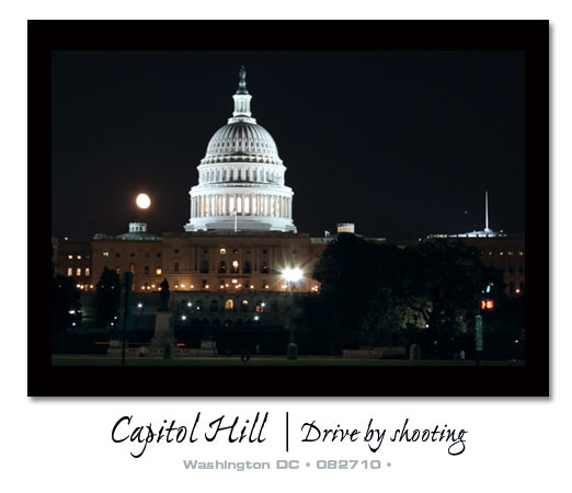 Capitol Hill at night during a drive by shoot