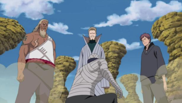 Third Raikage, Second Tsuchikage, Fourth Kazekage summoned by Muu