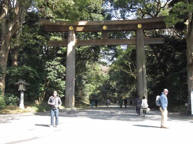 Torii at the entrance of Meiji Jingu