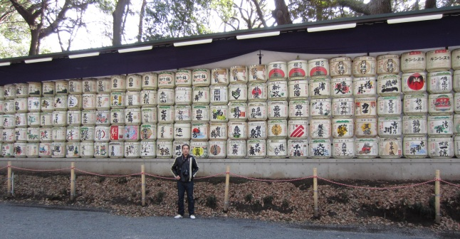 Barrels of sake donated to the Shrine