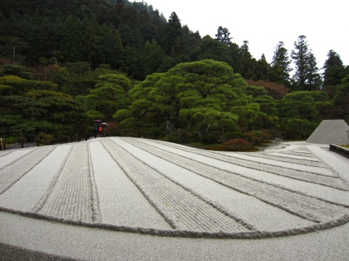 Sand garden said to symbolize Mt. Fuji
