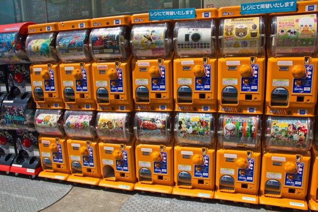 Gashapon (ガシャポン) machines outside Kiddyland