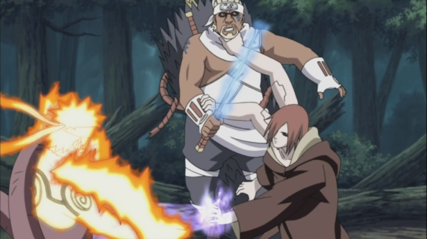 Asura Path restraining Killer Bee & Naruto